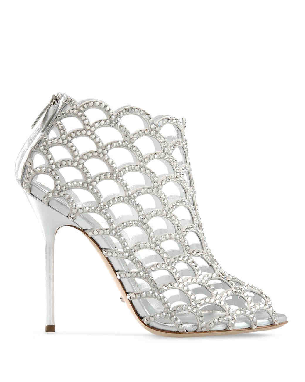 crystal and leather cut-out bootie