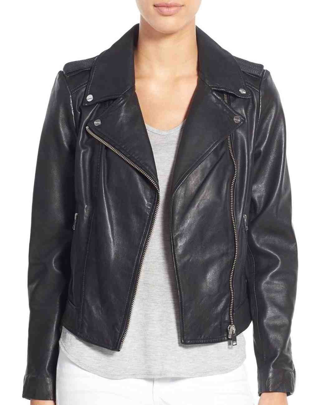 "LAMARQUE ""Donna"" Lambskin Leather Moto Jacket"