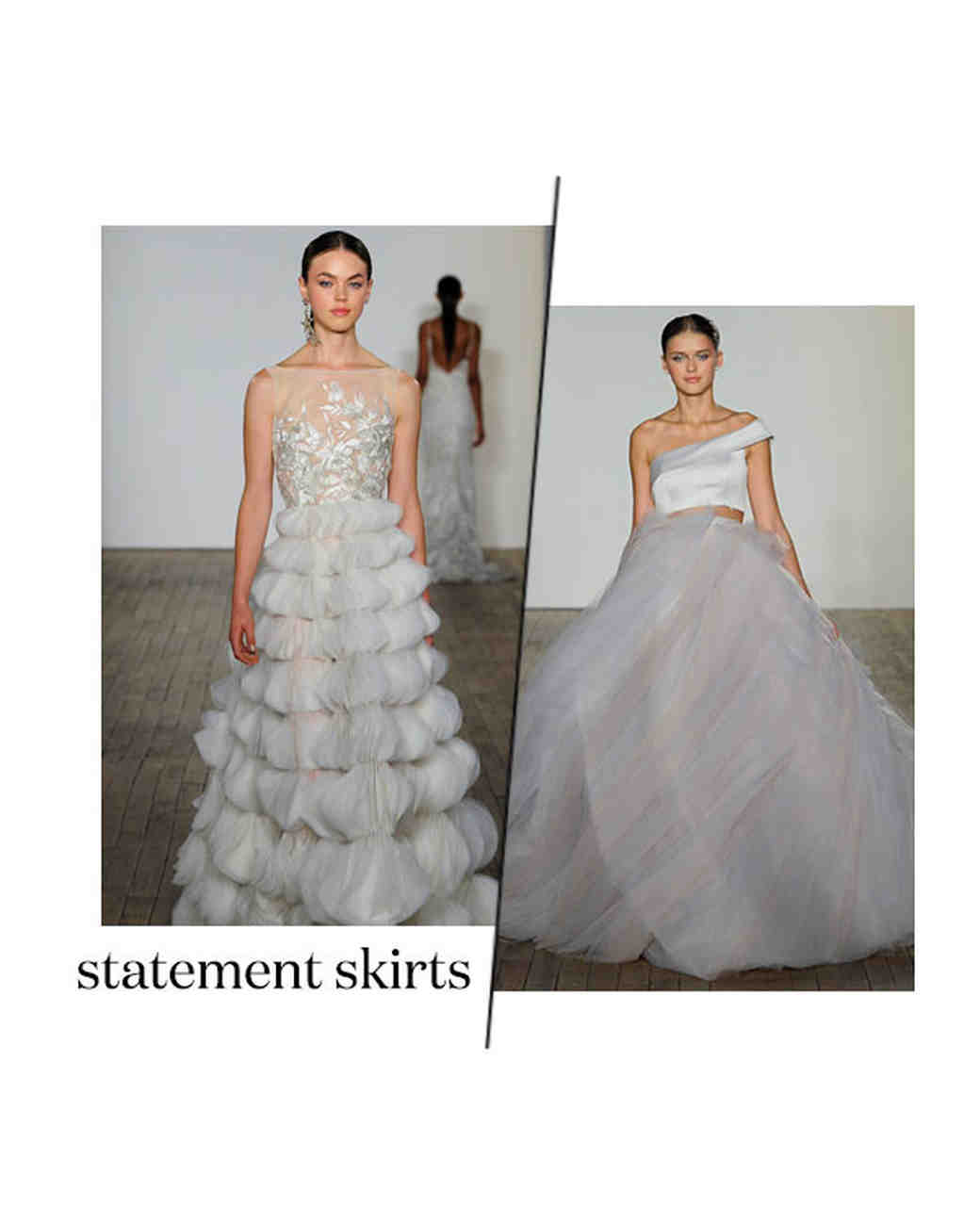 fall 2019 bridal fashion week trends statement skirts