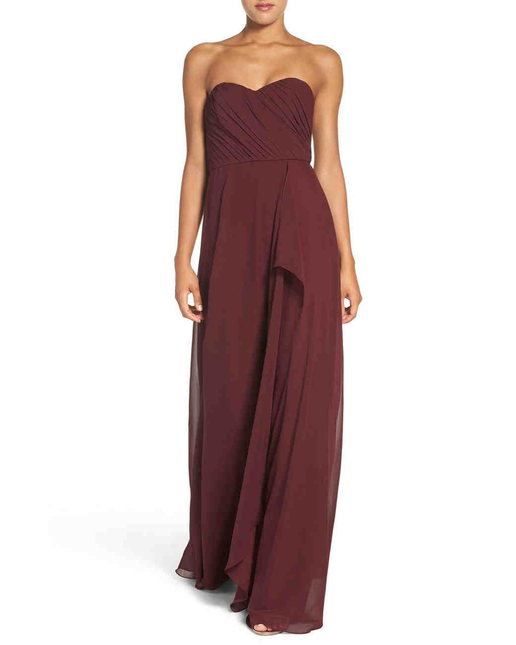 "burgundy bridesmaid dress – Amsale ""Jaycie"" Drape Strapless Chiffon Gown"