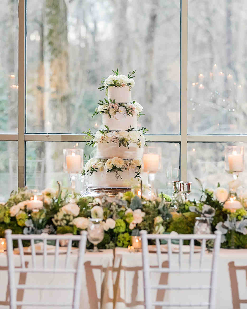 cakes with floral tiers elevated centerpieces