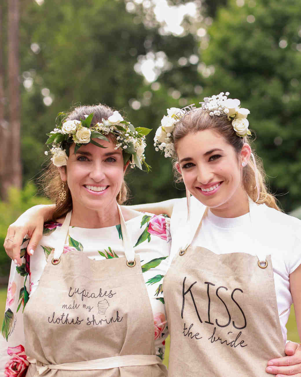 bridal shower mother bride outdoors apron flower crowns