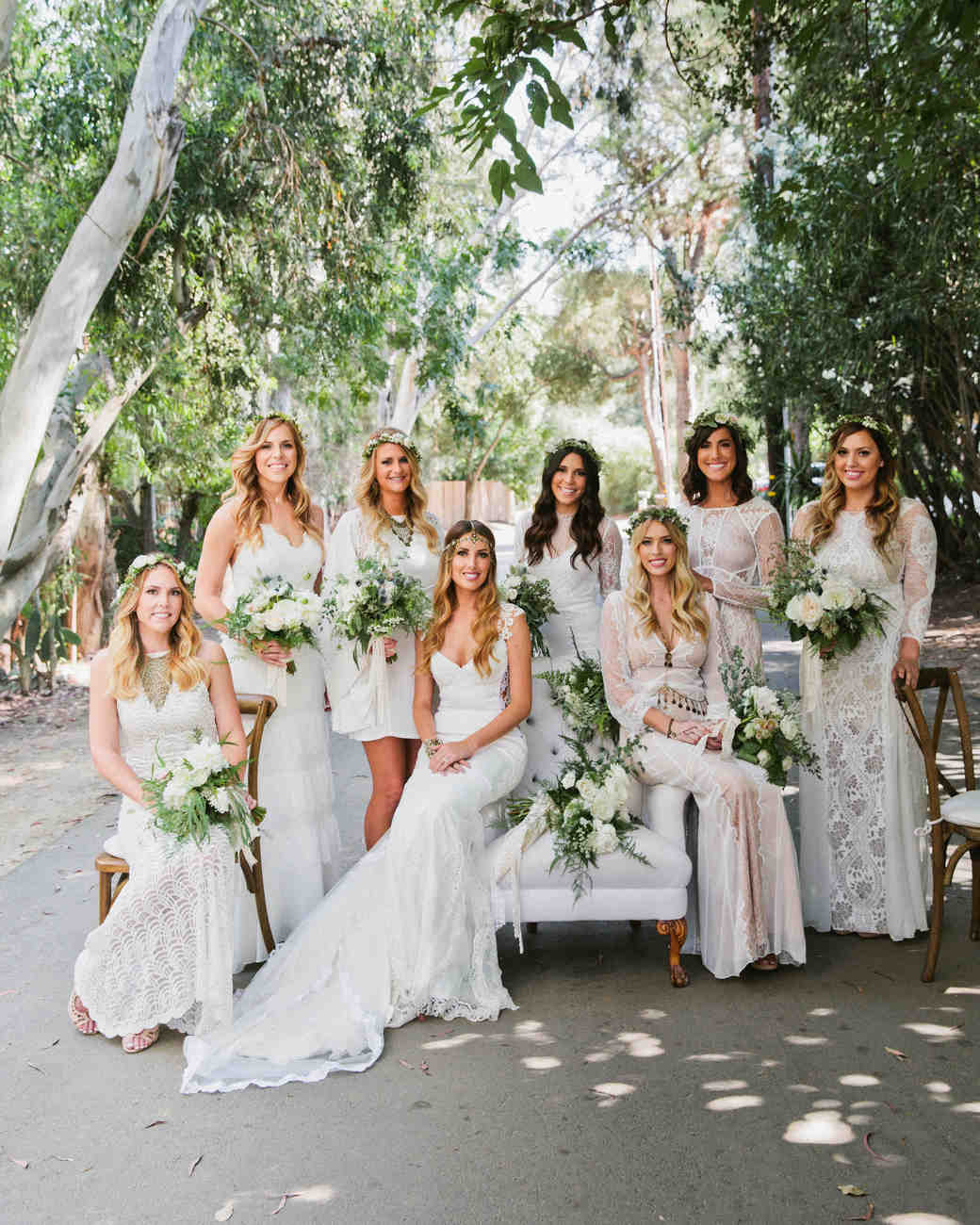 chic bridesmaids bohemian style gowns with flower crowns