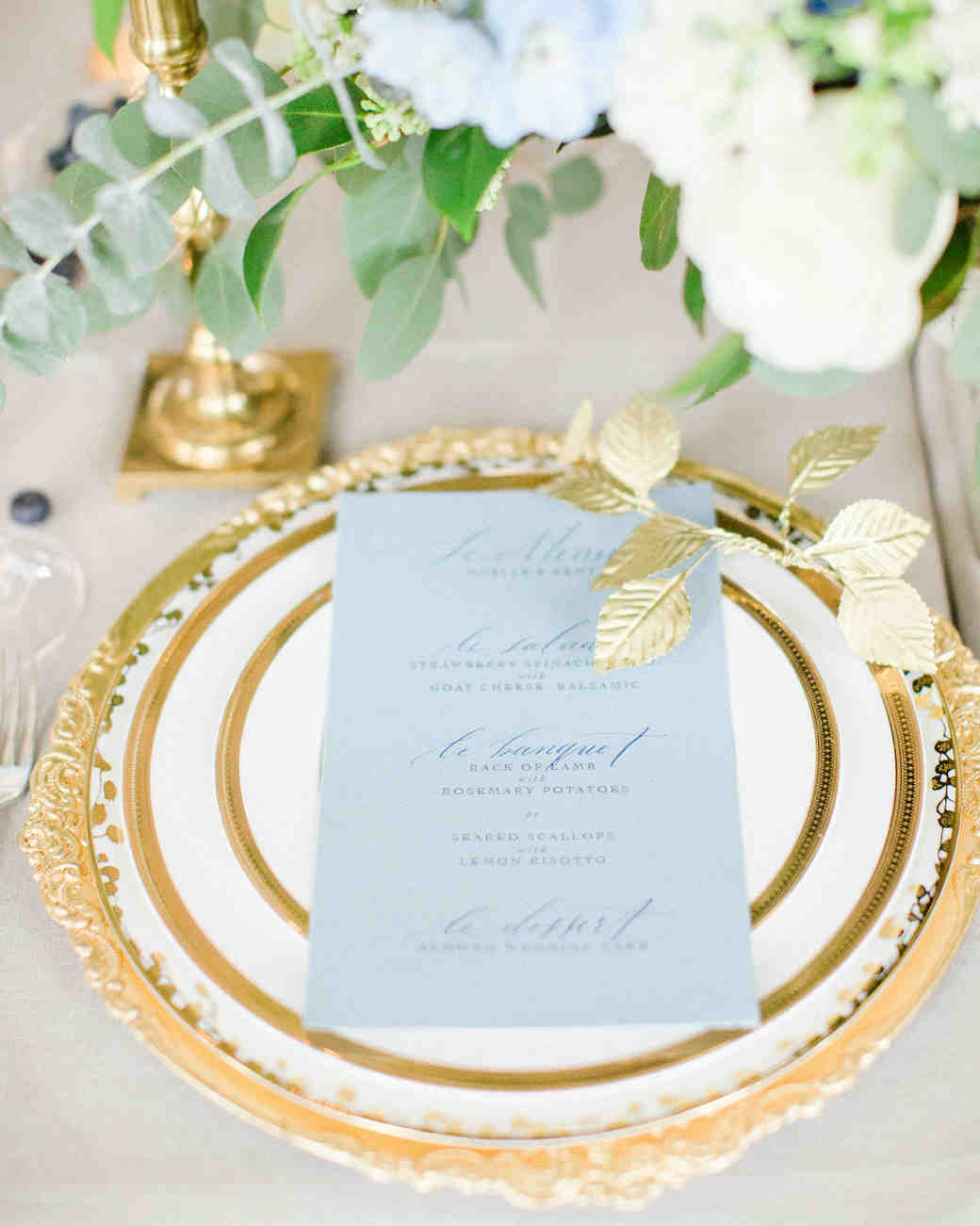 gold-trimmed place setting
