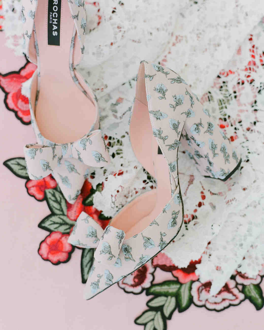 colleen stephen newport wedding floral heels with bows