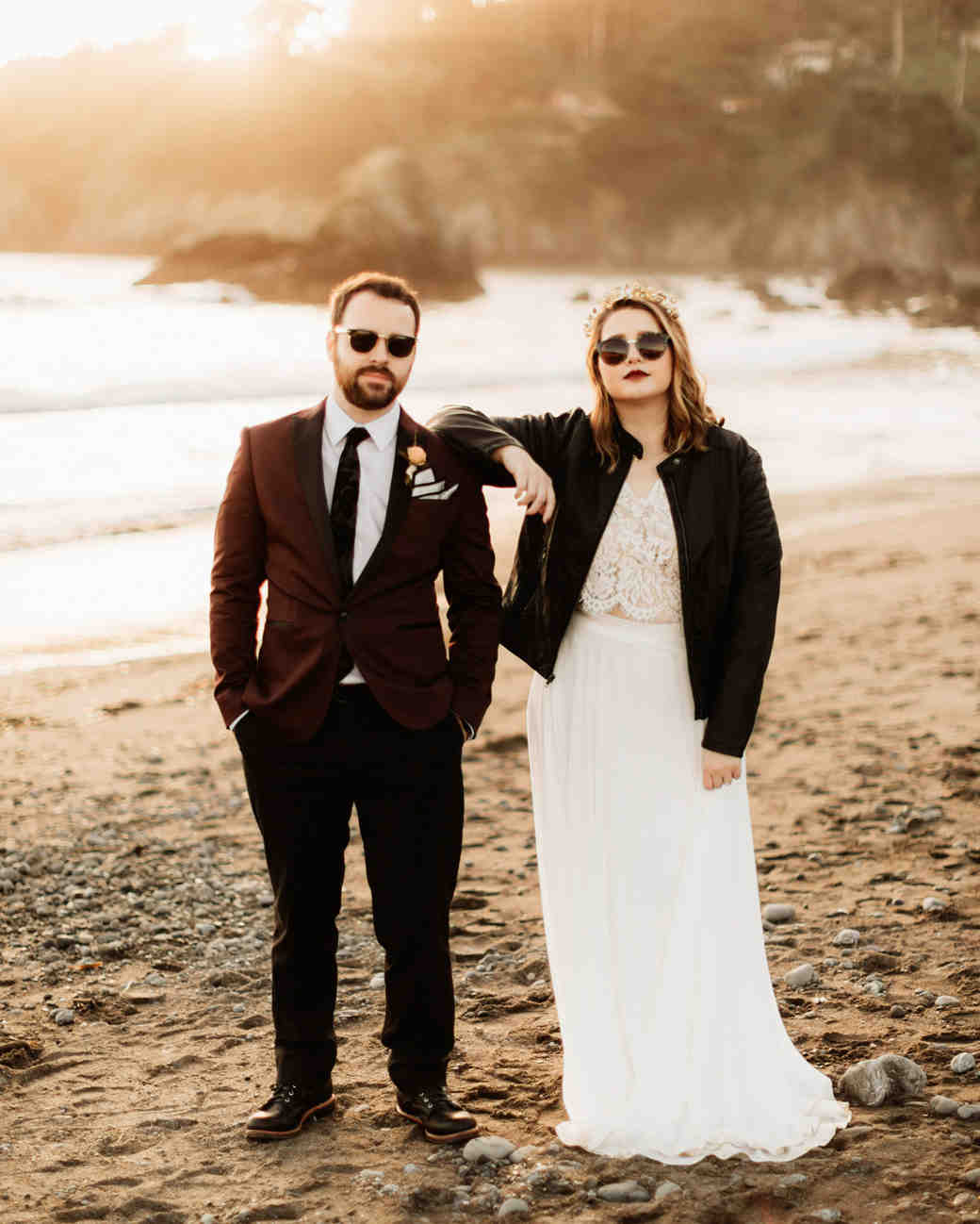 elopement outfit inspiration couple on beach wearing sunglasses