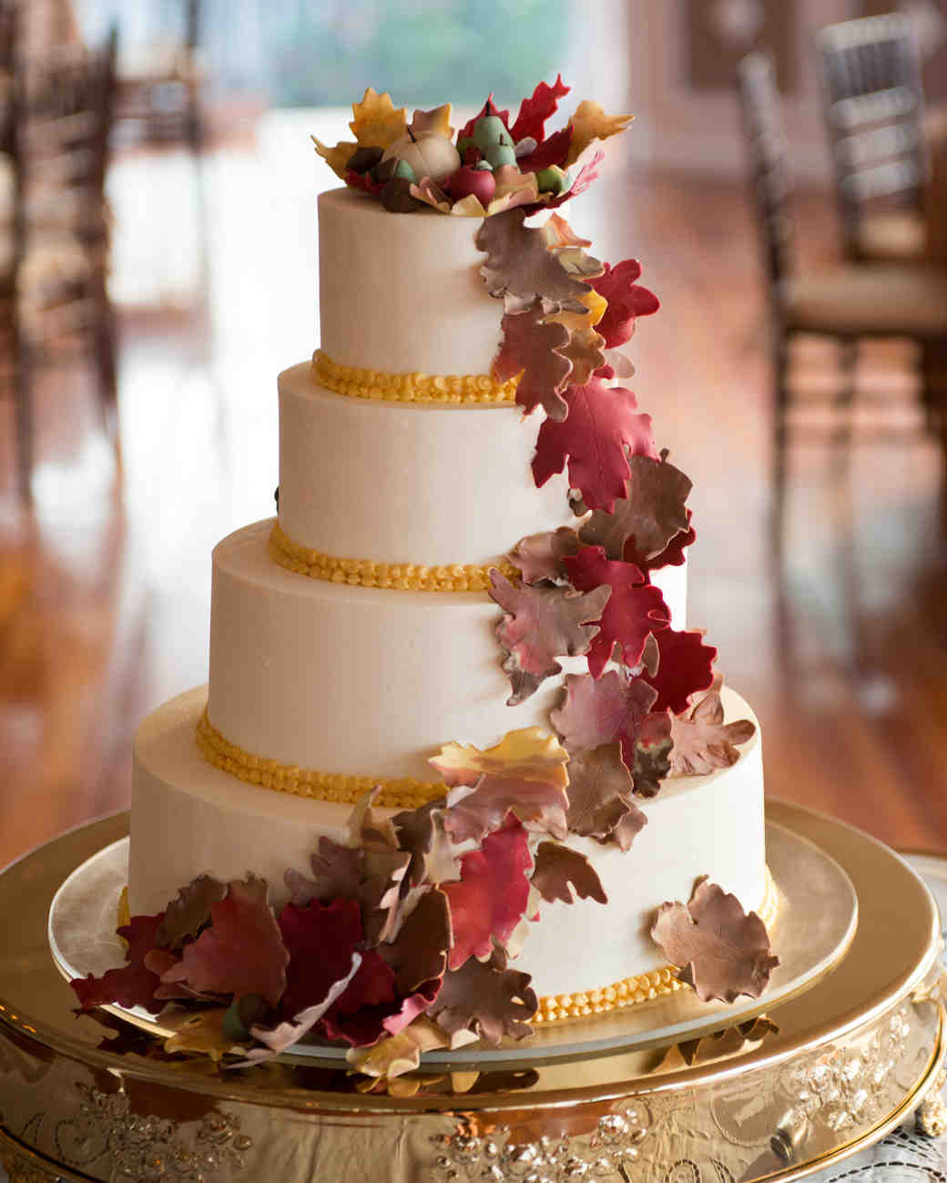 Wedding Cake with Fall Leaves as Decoration