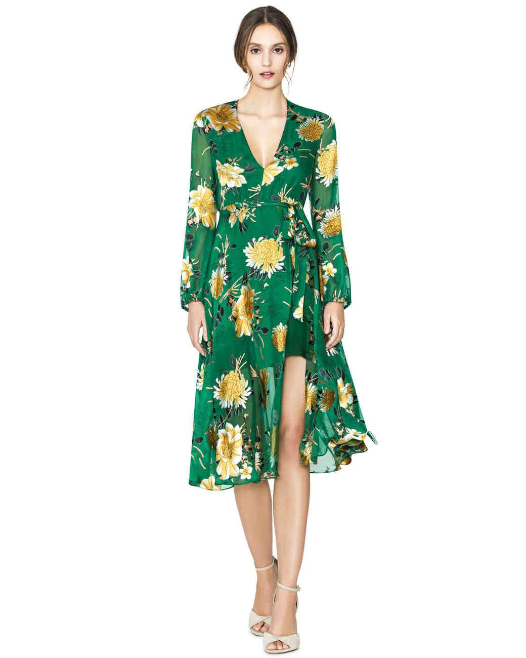 green floral wrap dress