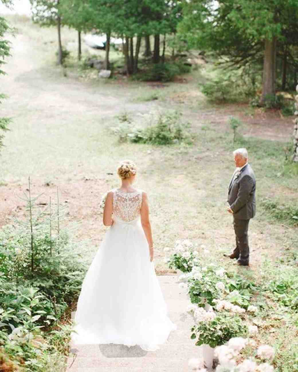 Father-Daughter Wedding Photos, Daughter Walking Towards Dad Outside