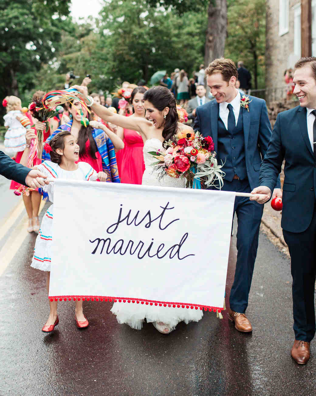 just married sign banner couple