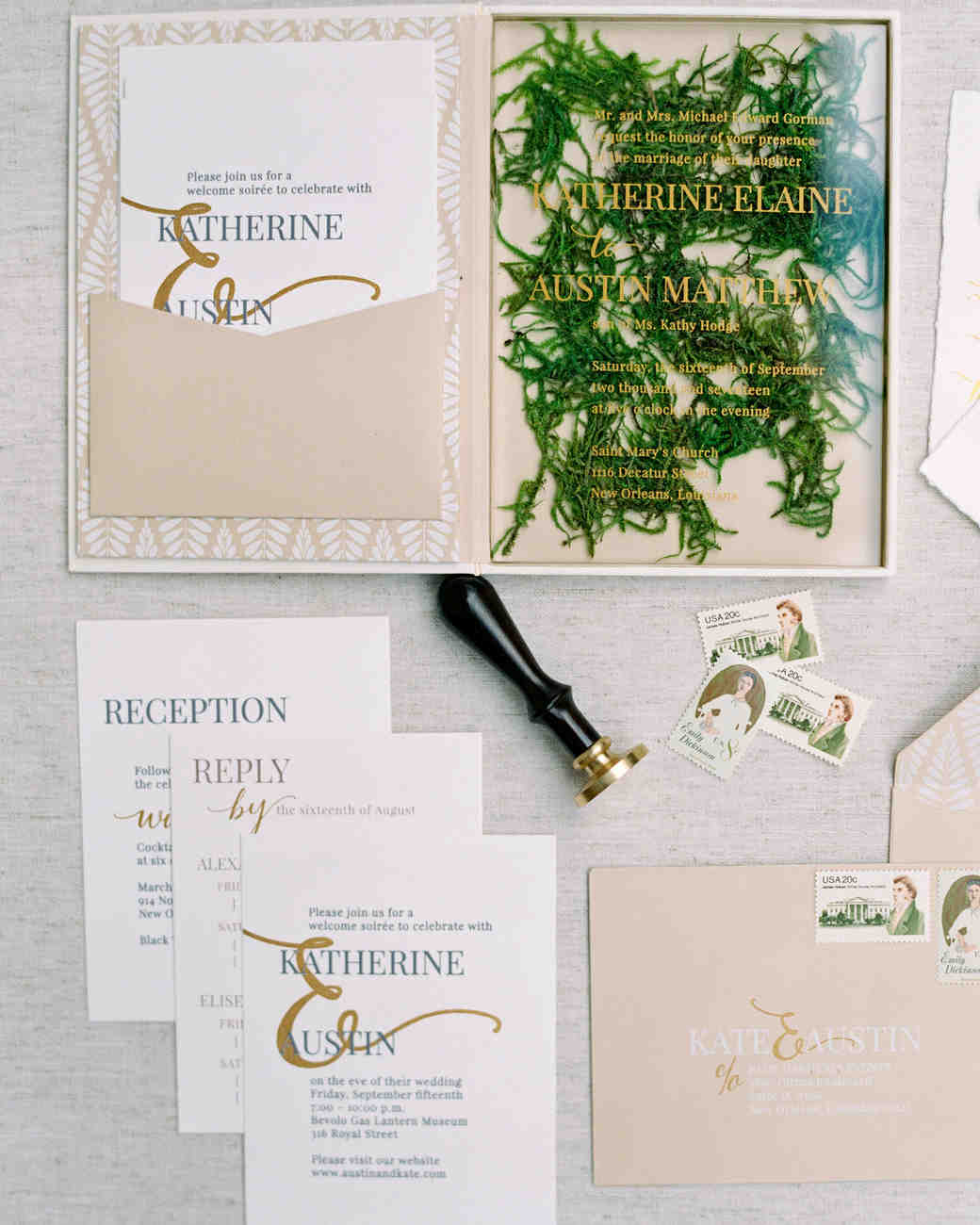 kate austin wedding invitation