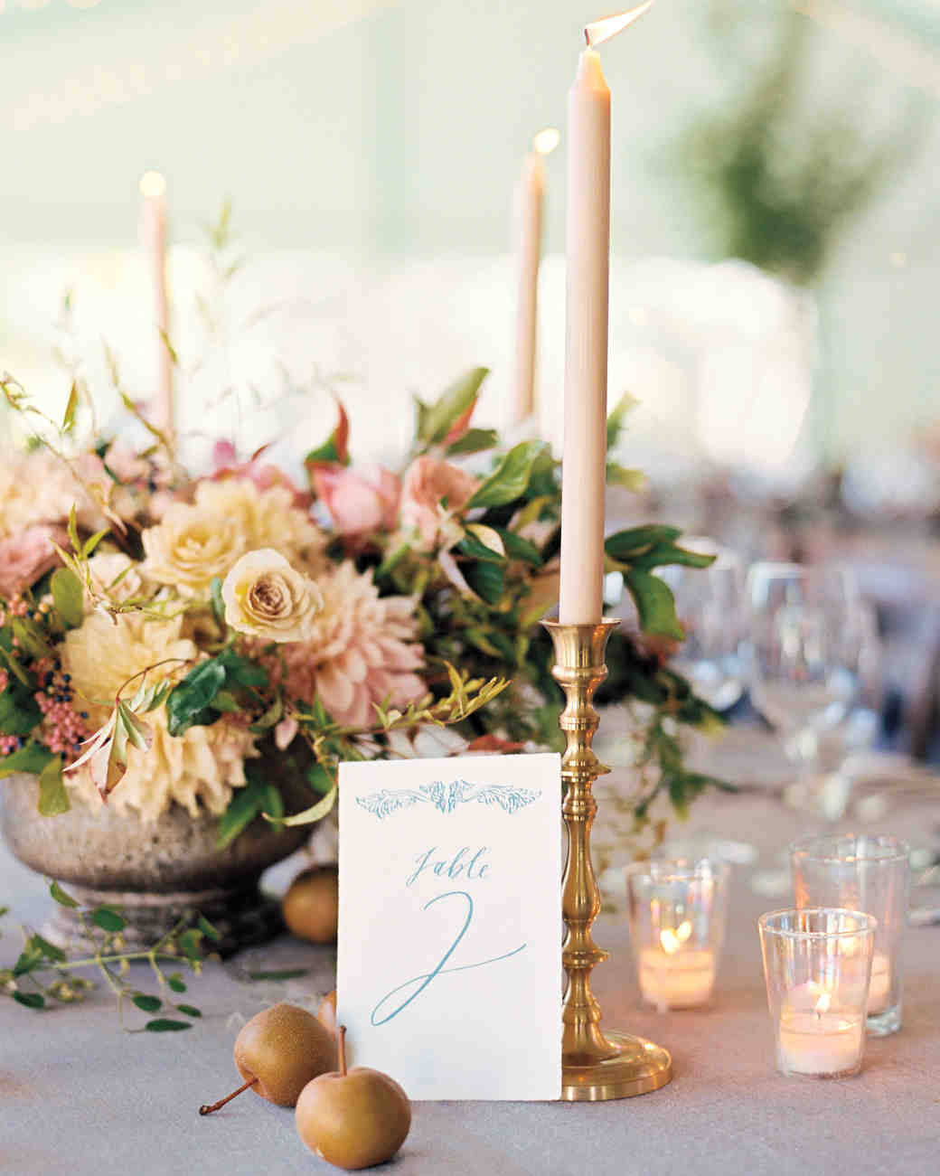 white and blue wedding table number