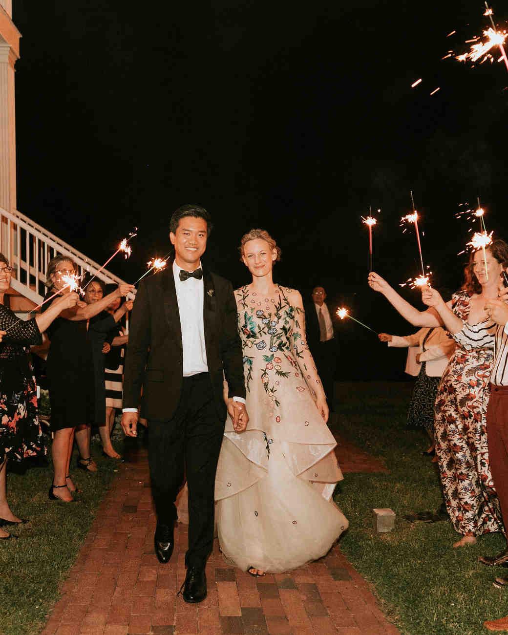 leah michael wedding sparkler sendoff