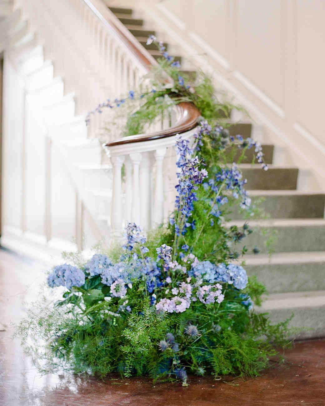 michelle robert wedding flowers stairs