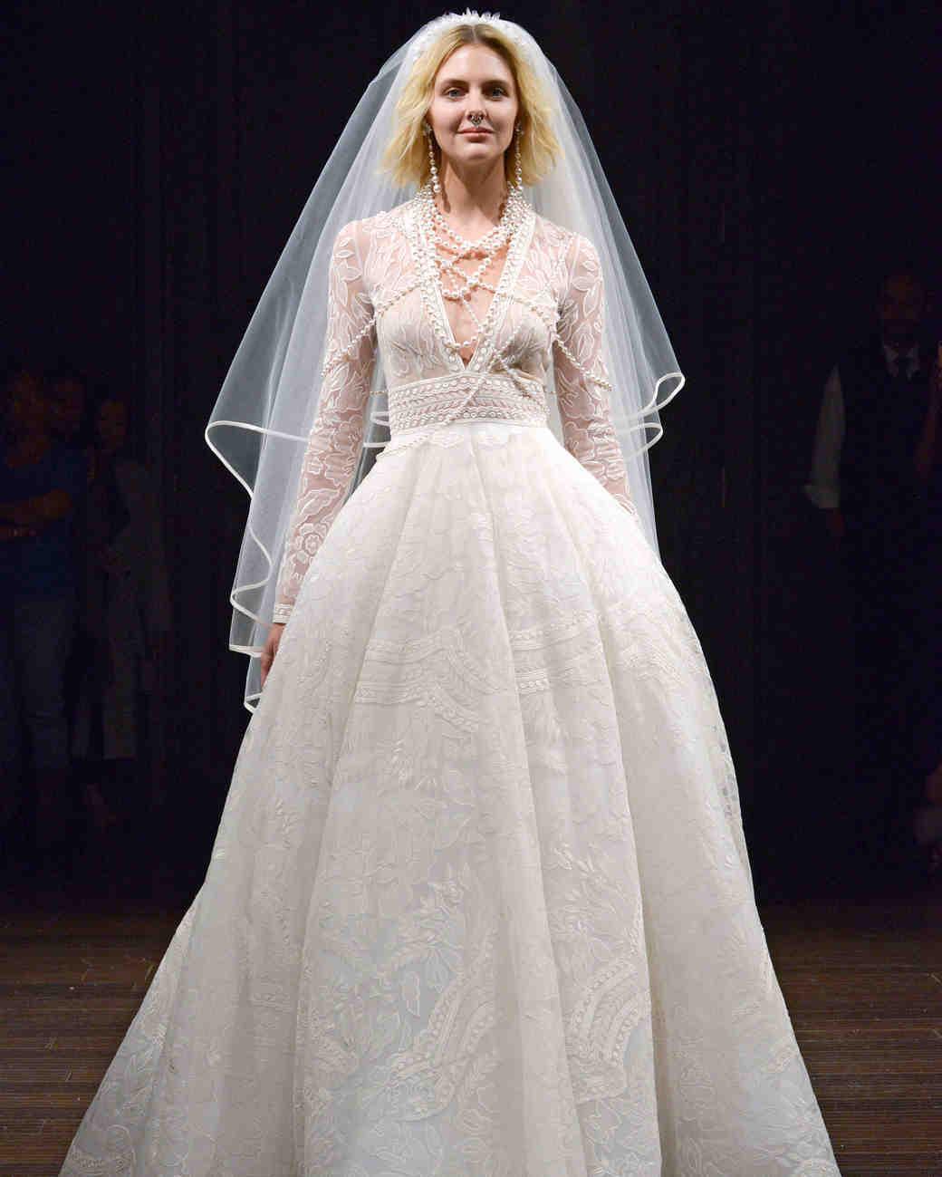 naeem khan a-line with veil wedding dress spring 2018