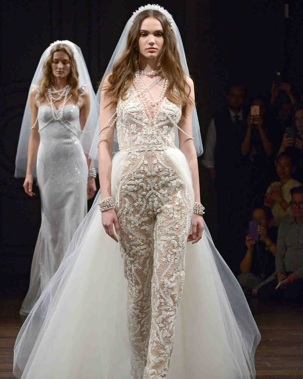 naeem khan sheer wedding dress with train spring 2018