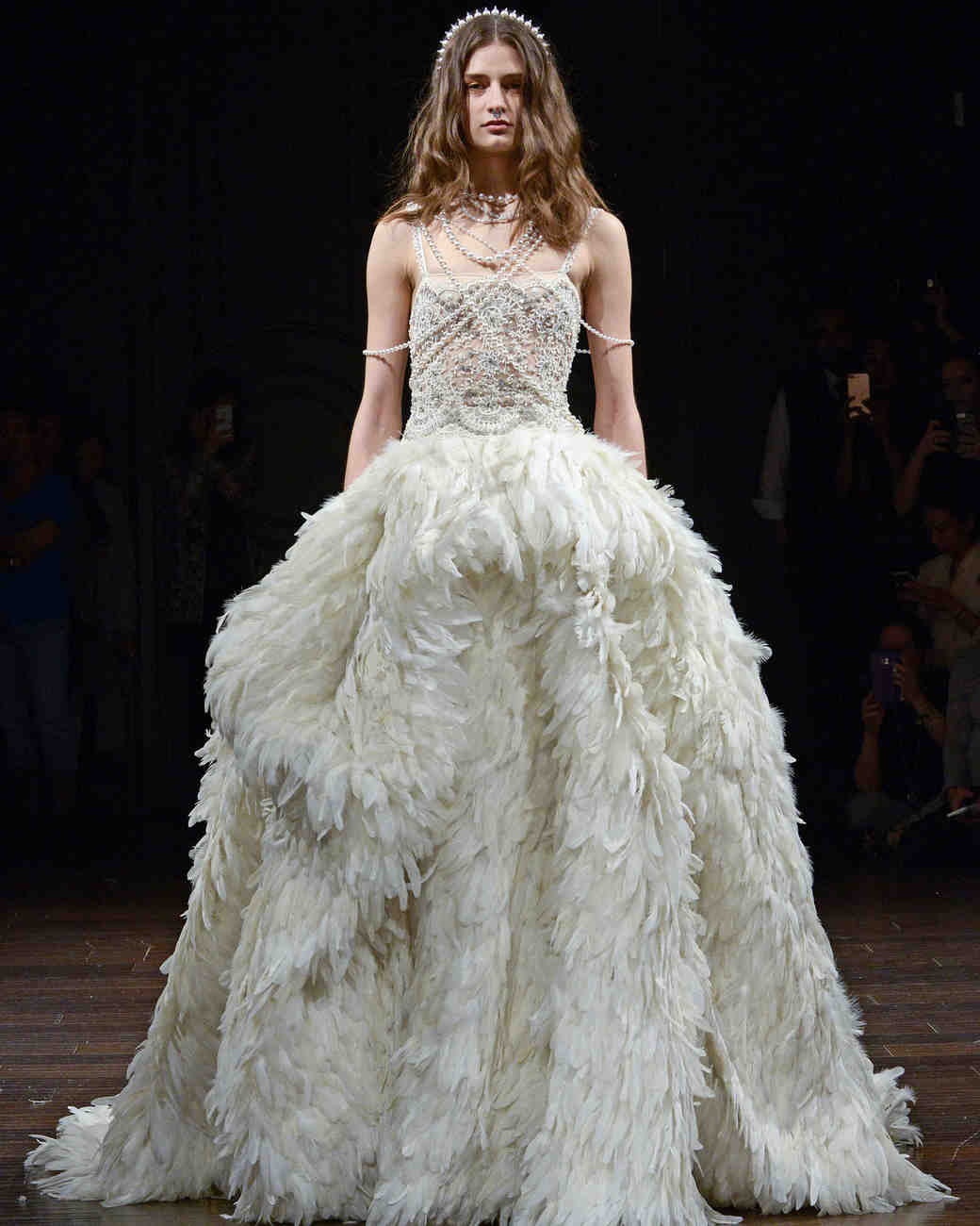 naeem khan feather a-line wedding dress spring 2018