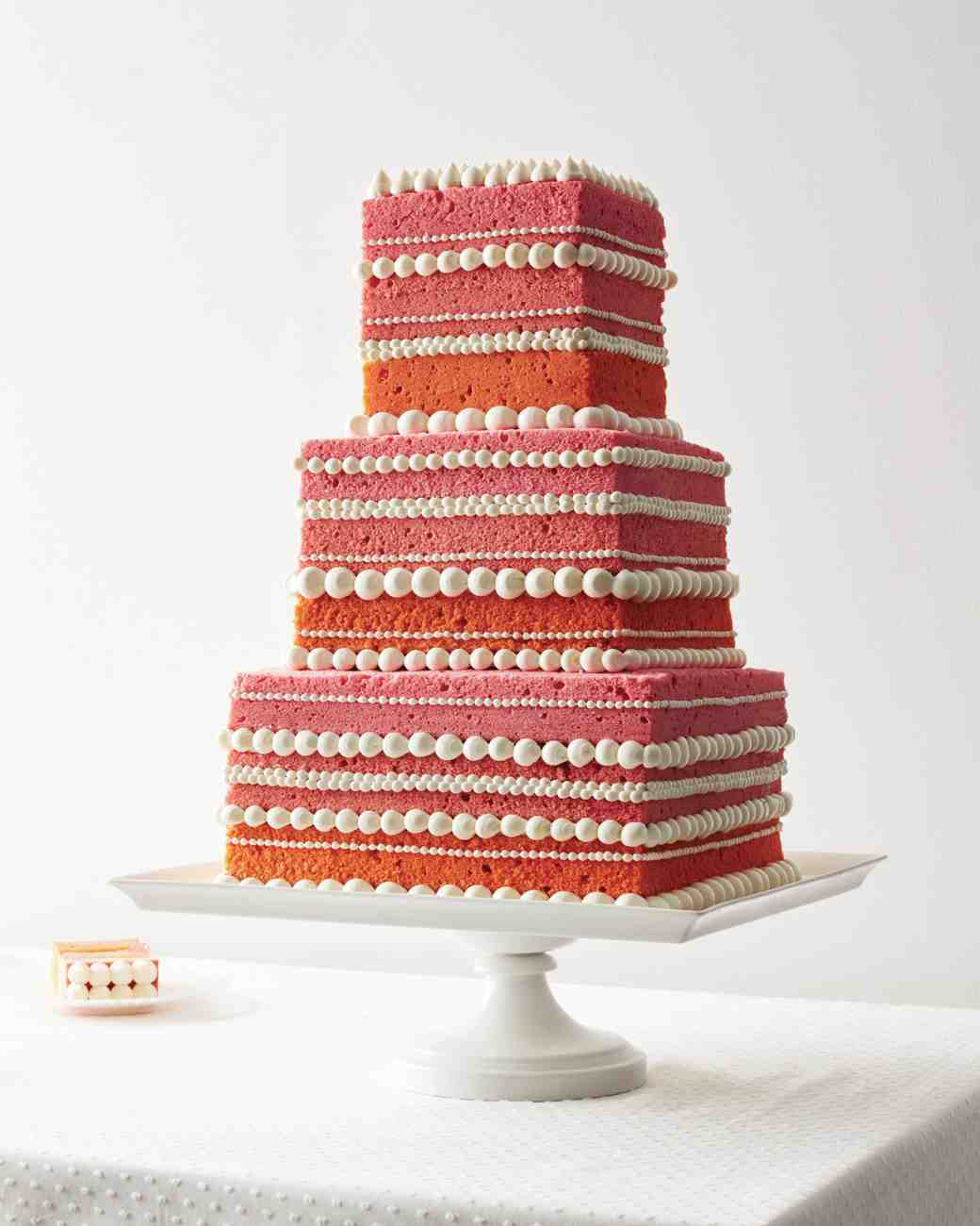 Pink Ombre Naked Cake with Dotted Buttercream Borders