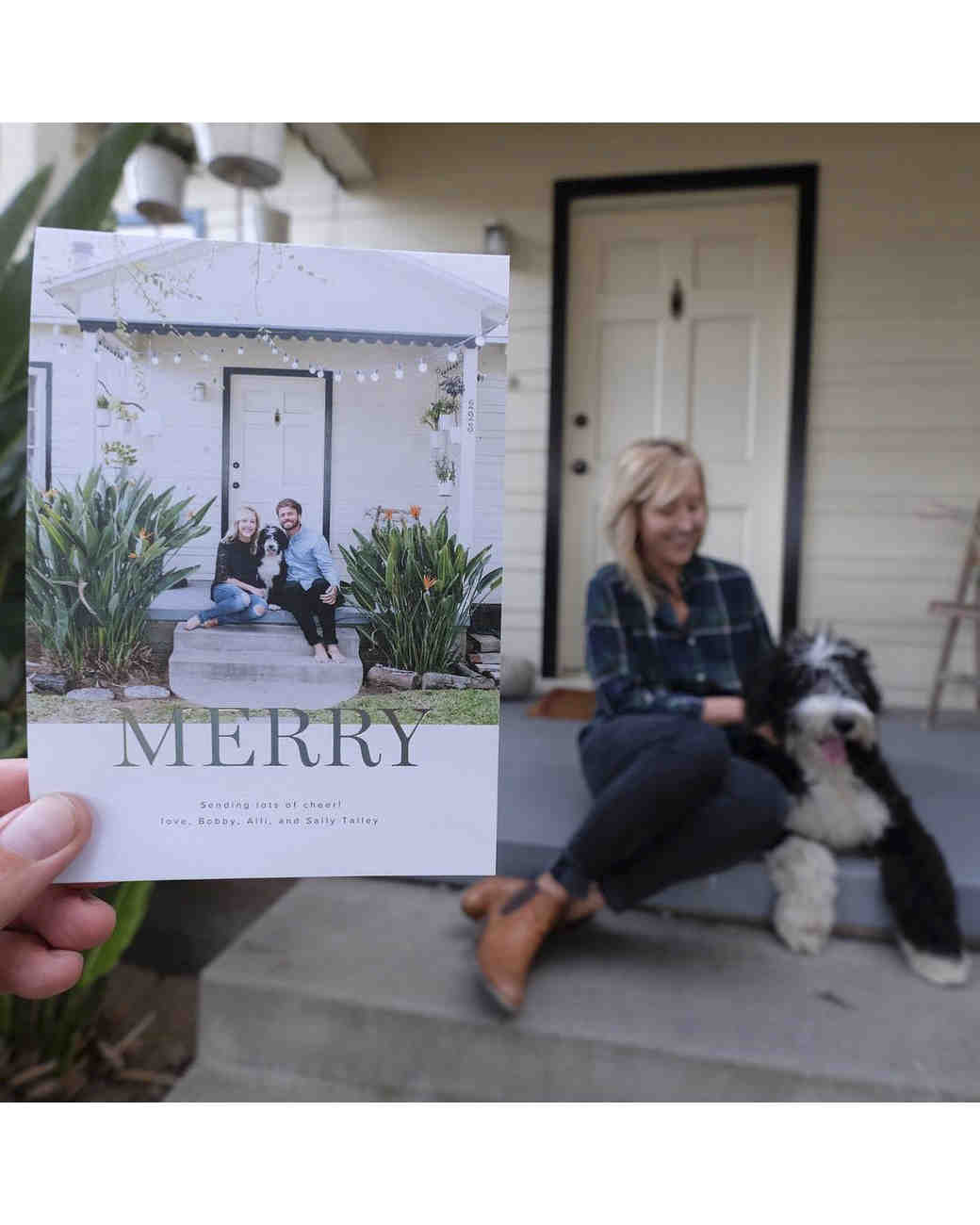 newlywed holiday card the traveling couple