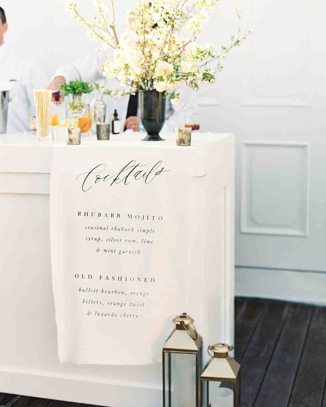 handmade hanging ivory linen signature cocktail menu