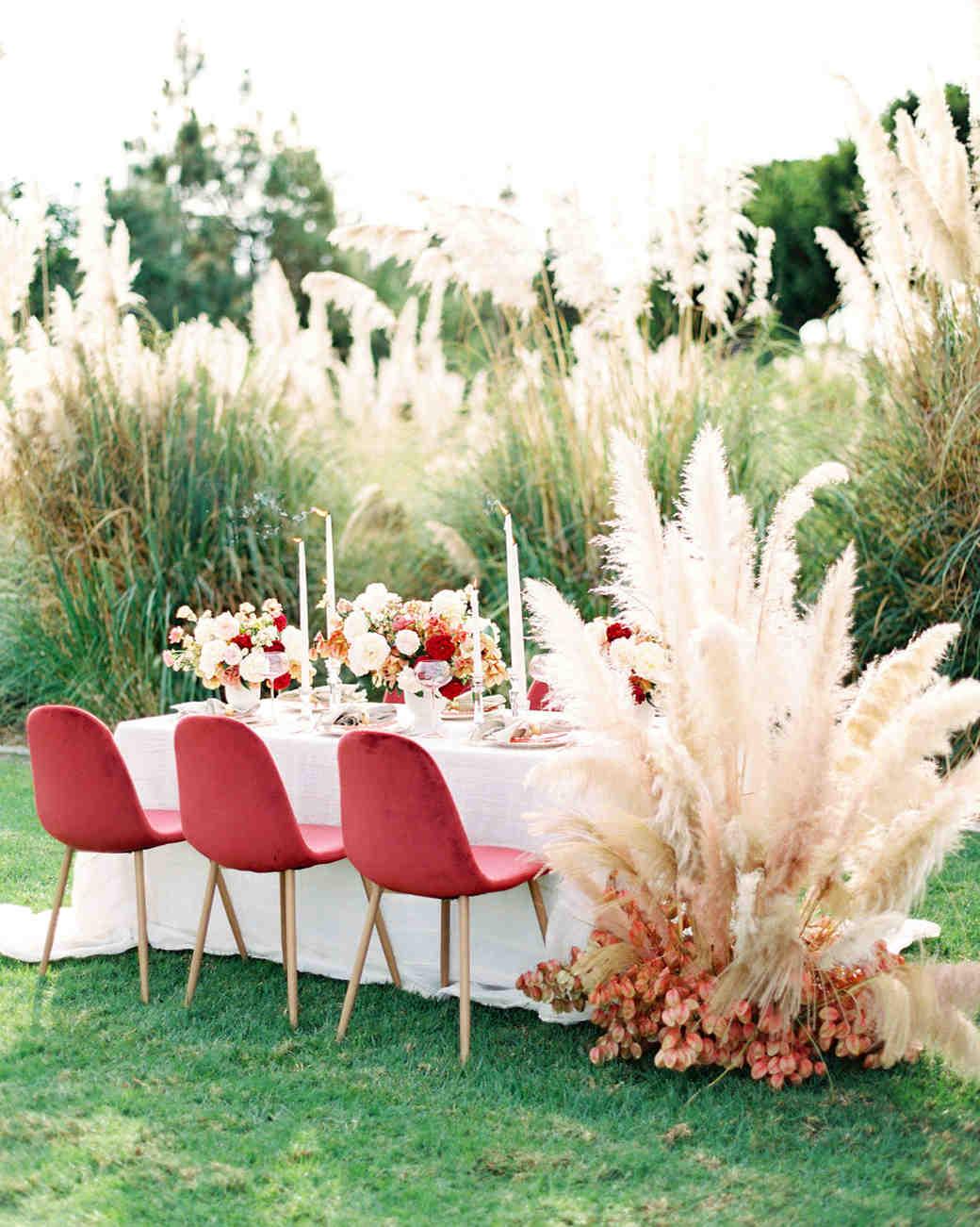 pampas grass ideas wedding table backdrop