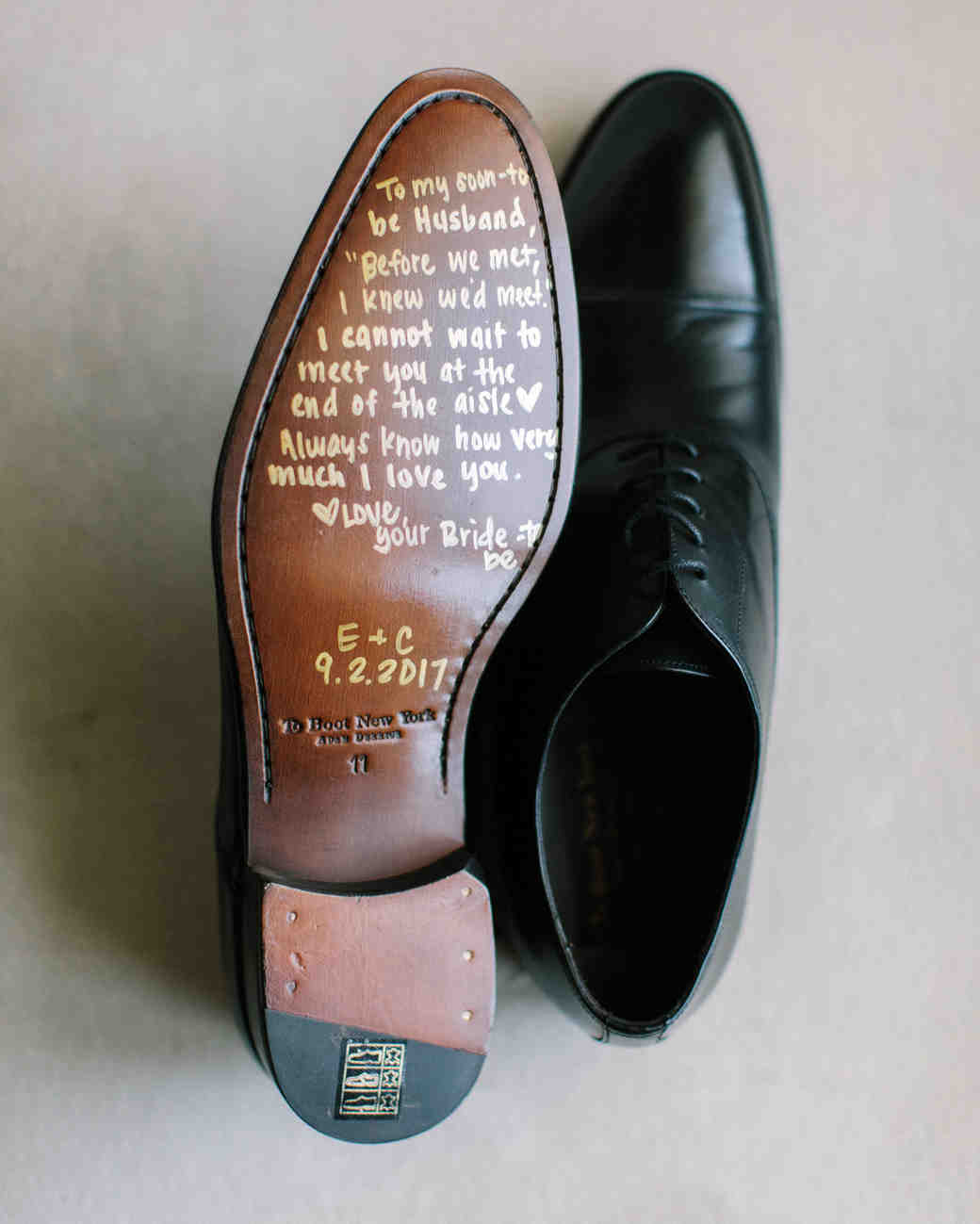 wedding shoes quote note on bottom