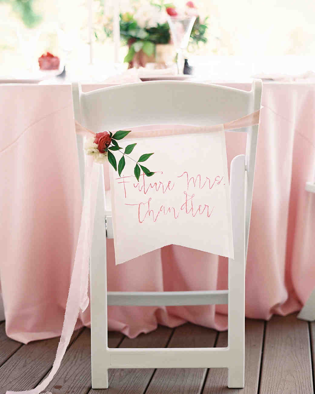 pink bridal shower seat label