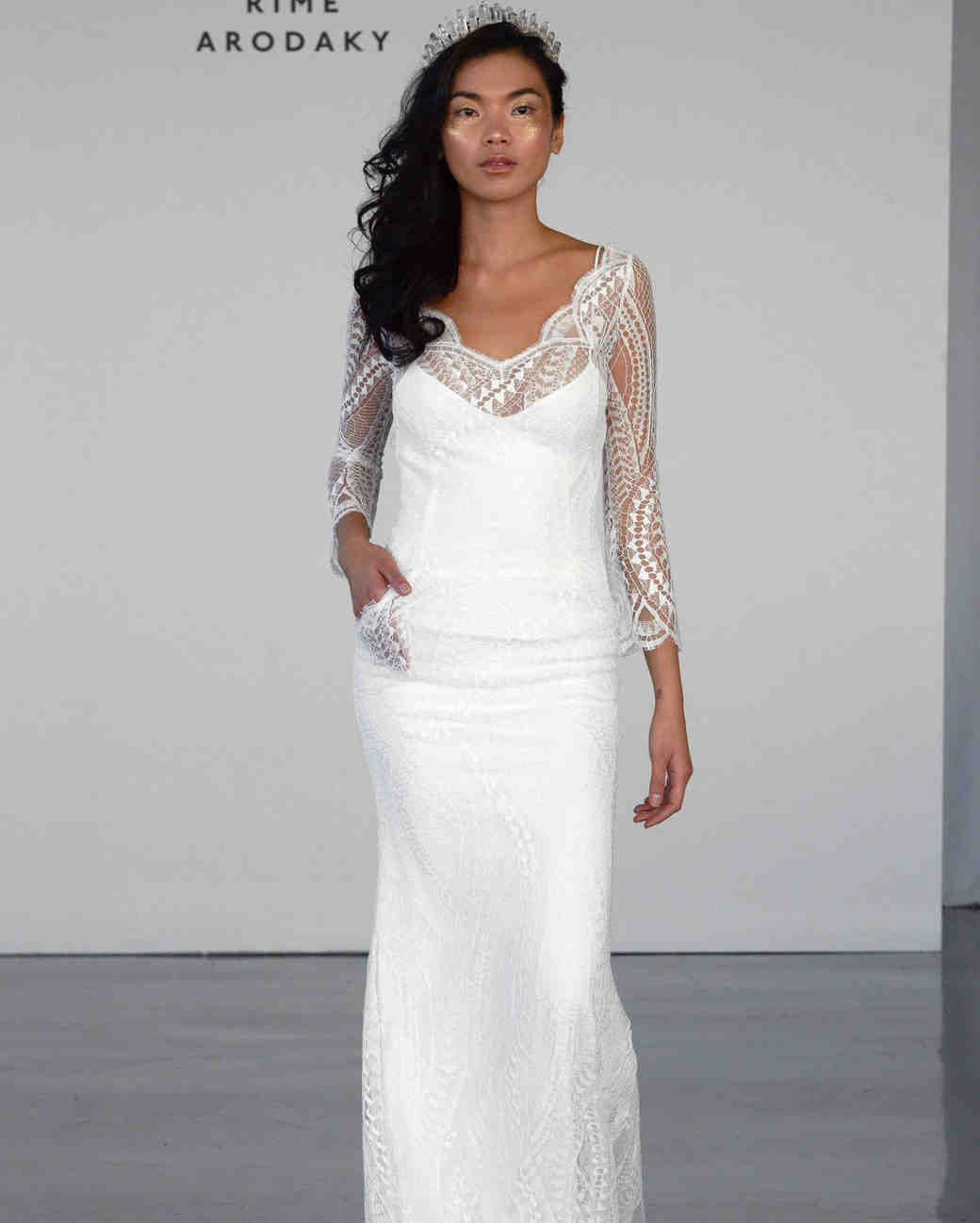Lace Overlay Long-Sleeve Wedding Dress with Pockets