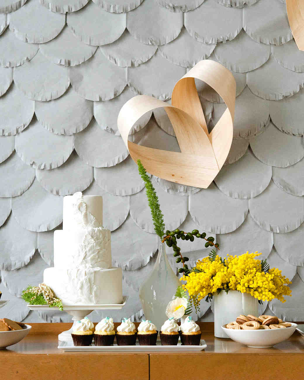 scalloped wedding decor gray backdrop with desserts