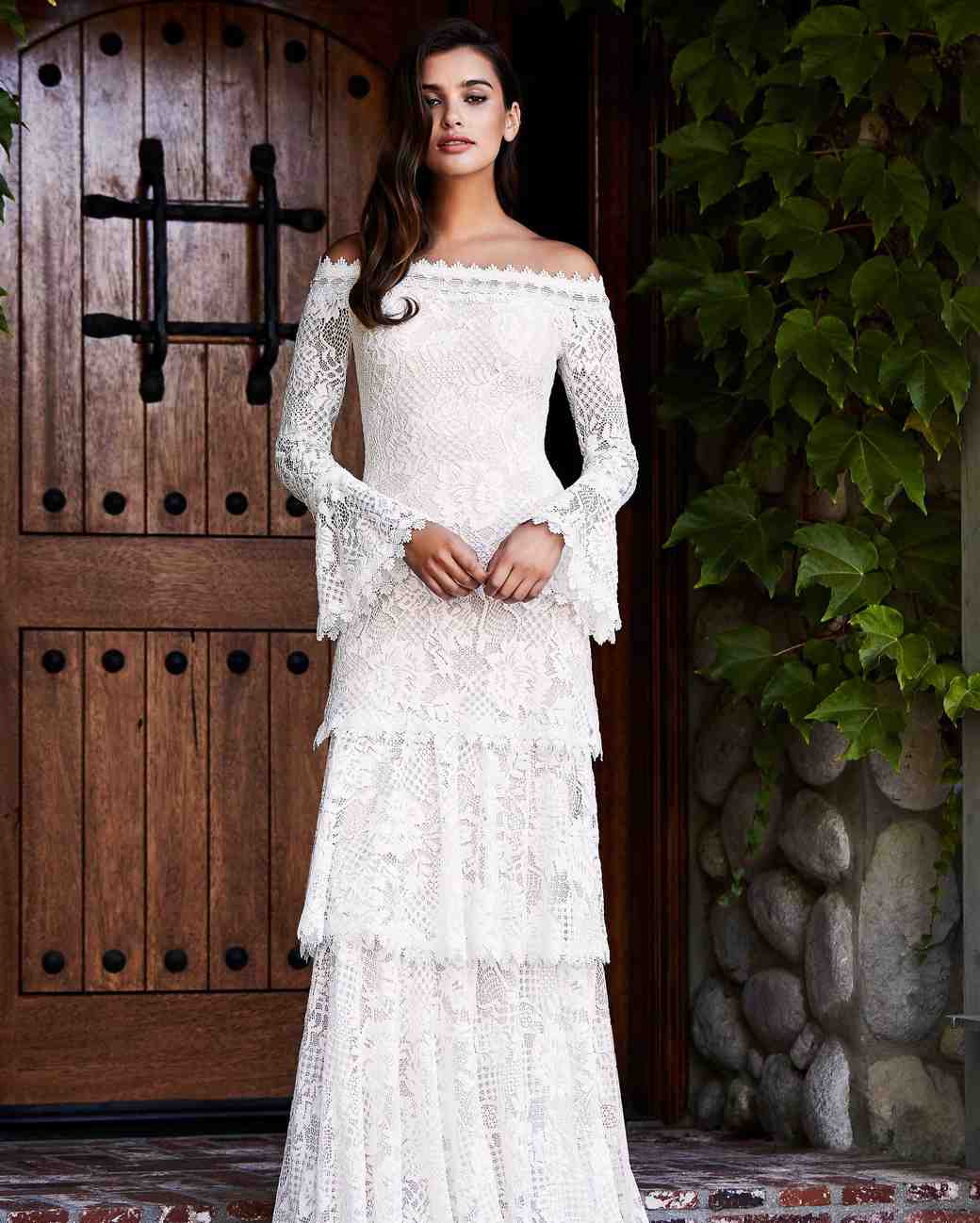 tadashi shoji wedding dress fall 2018 tiered lace off the shoulder