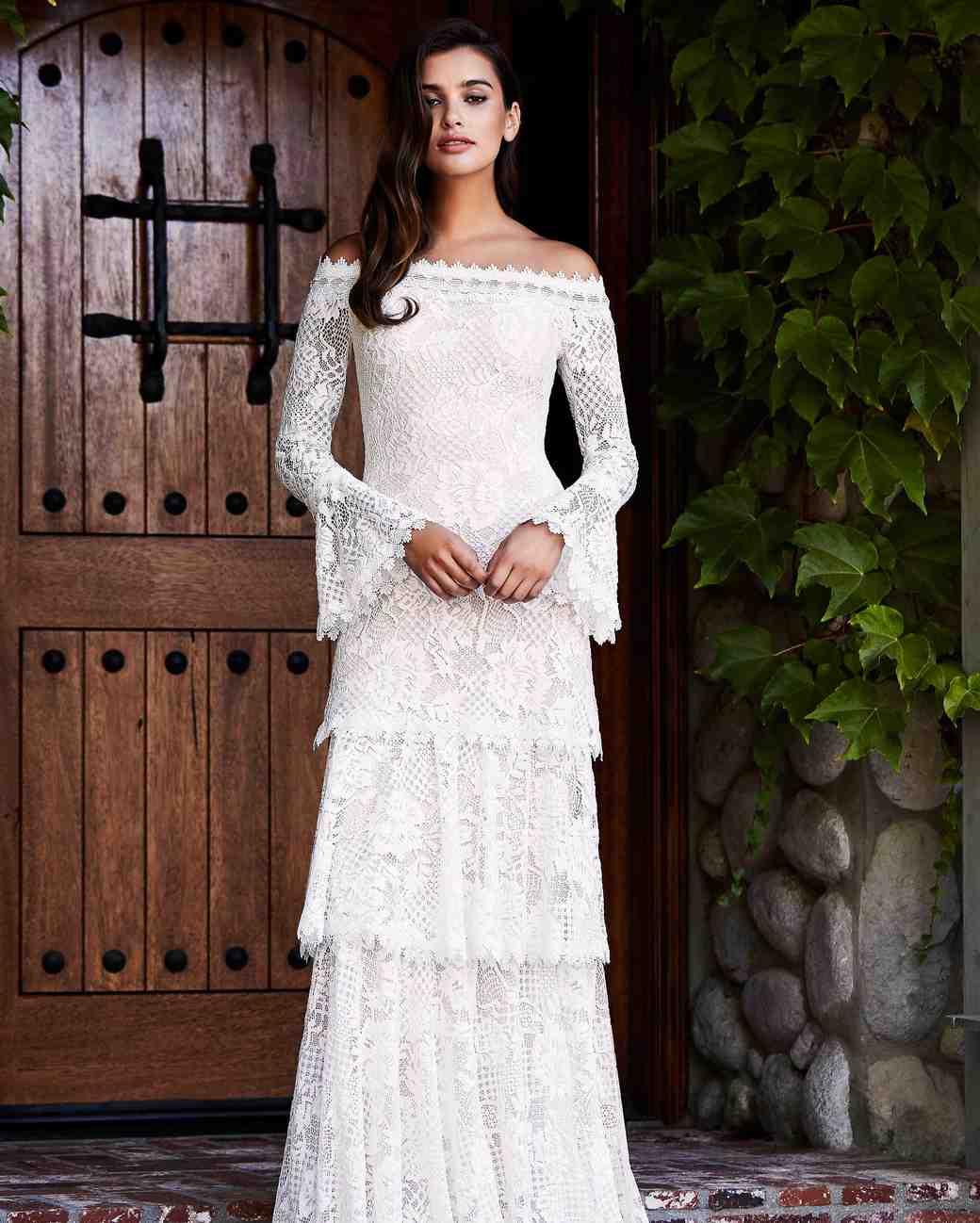 Superb Tadashi Shoji Wedding Dress Fall 2018 Tiered Lace Off The Shoulder