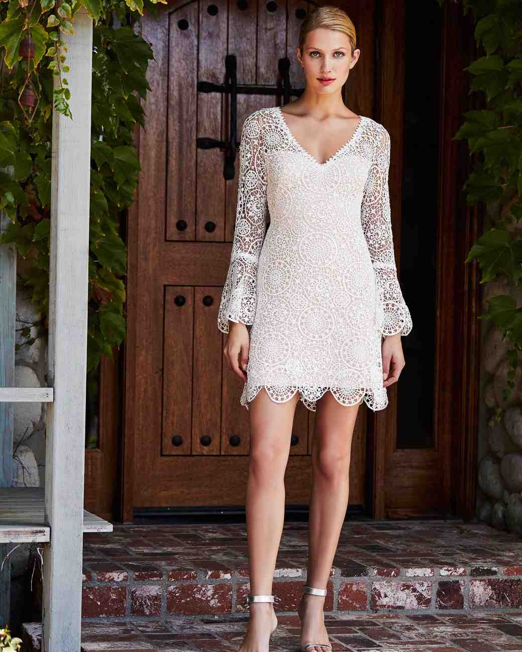 tadashi shoji wedding dress fall 2018 longsleeve lace mini