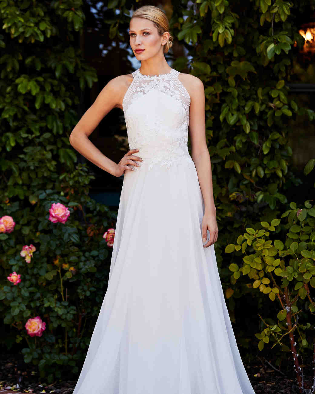 tadashi shoji wedding dress fall 2018 high neck a-line