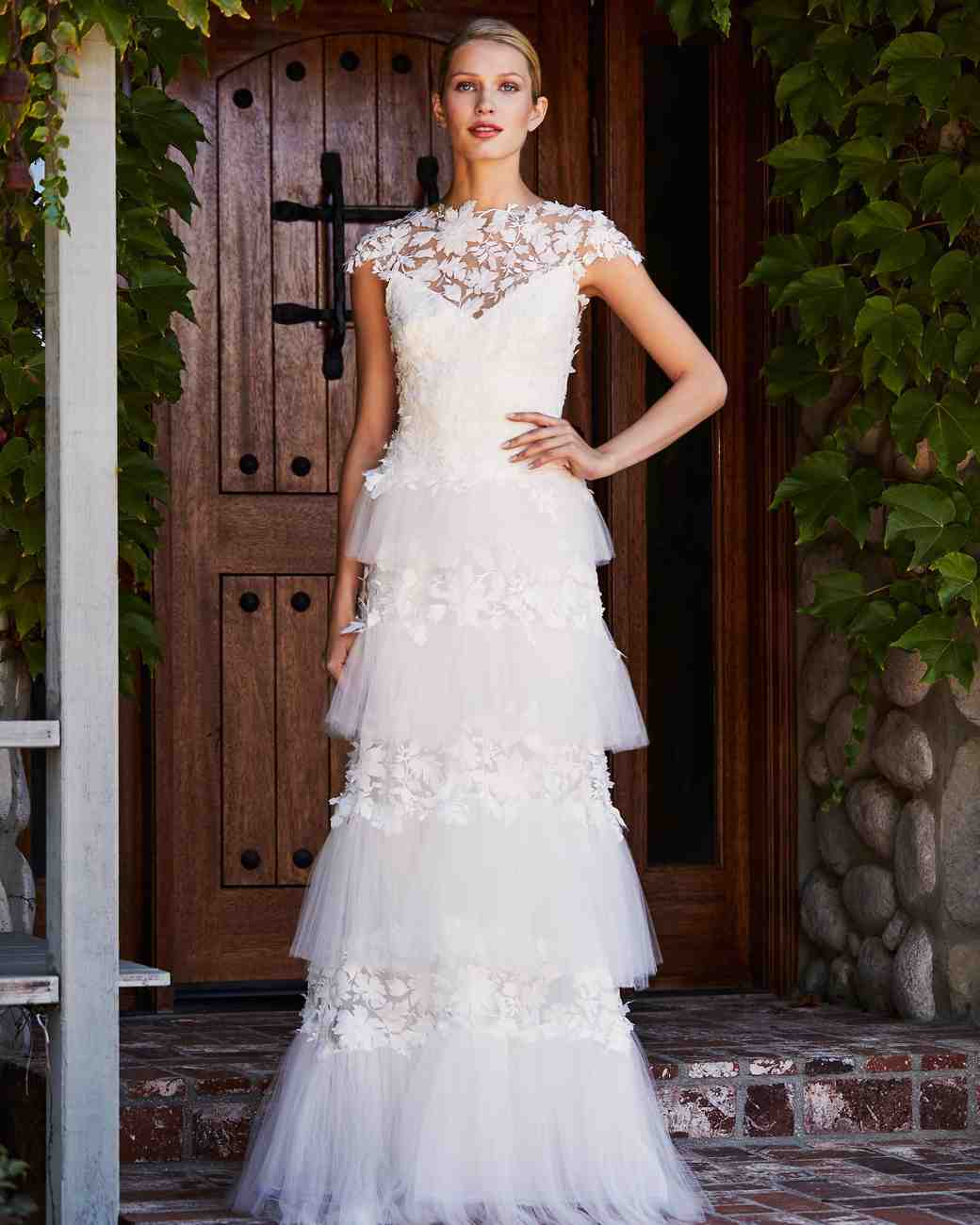 tadashi shoji wedding dress fall 2018 tiered tulle high neck