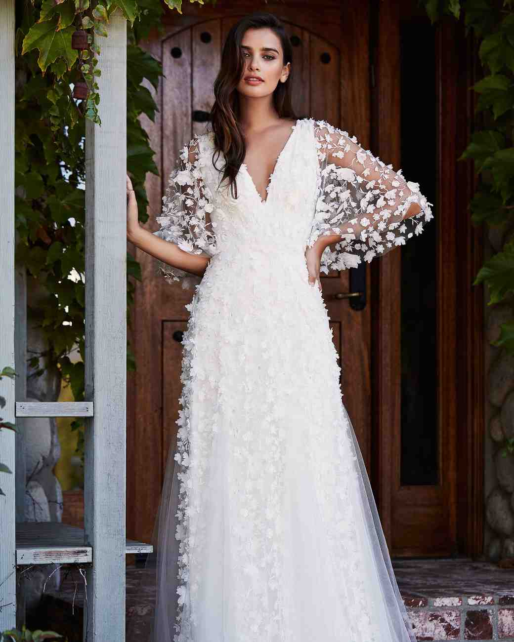 tadashi shoji wedding dress fall 2018 vneck lace long sleeve