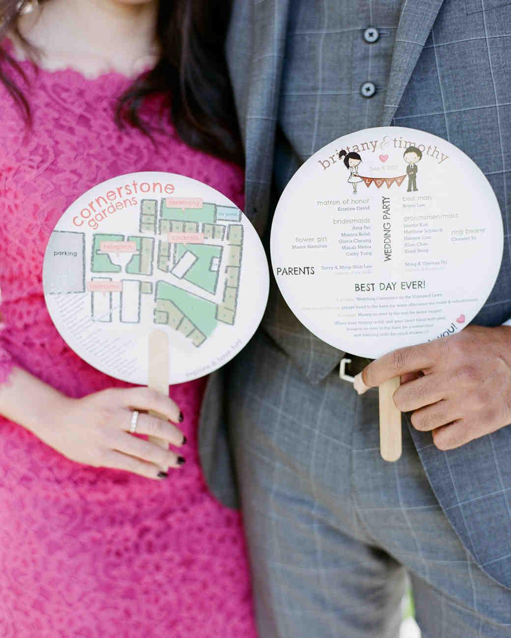 circular fan wedding programs with map