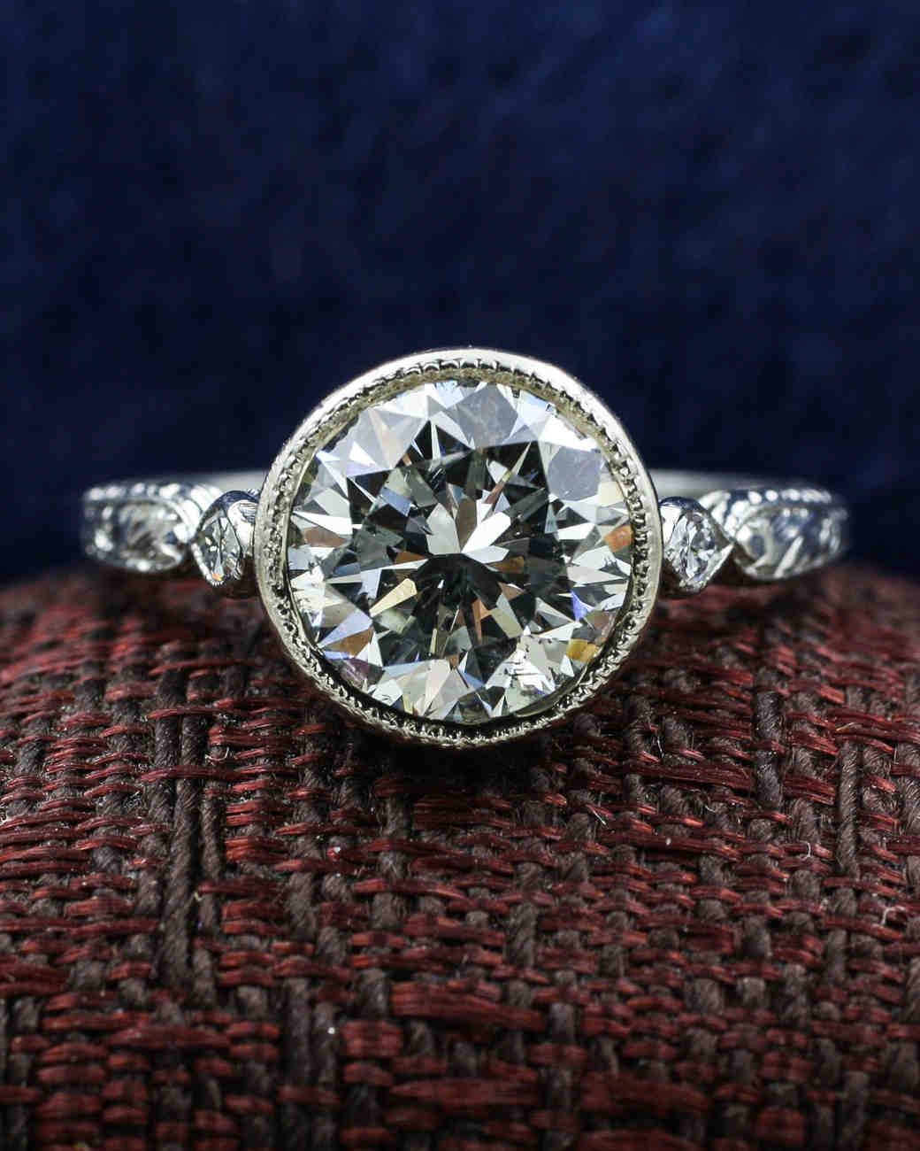 Vintage Diamond Platinum Buttercup Ring
