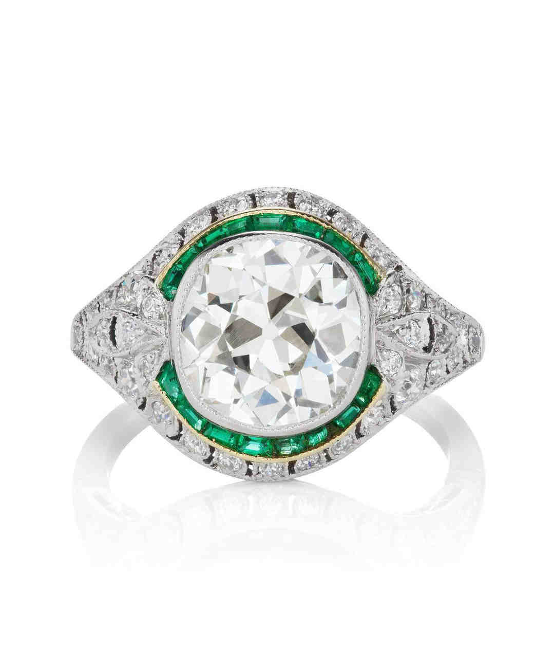 Bezel Set Diamond Emerald Halo Engagement Ring