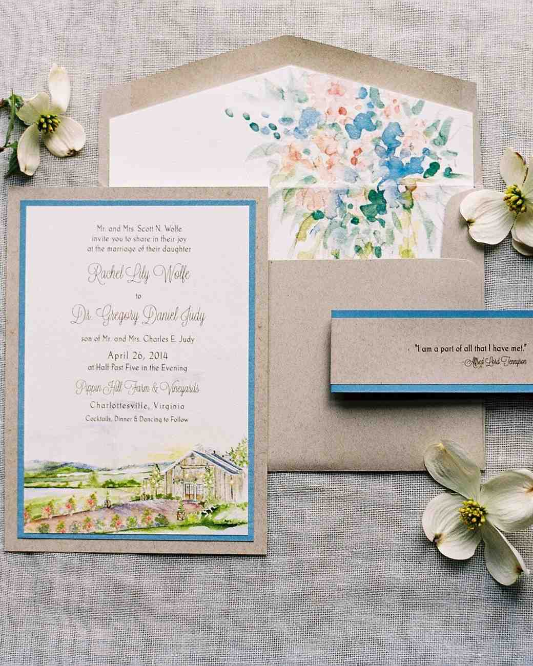 The loveliest watercolor wedding invitations martha stewart weddings tan blue pink and green watercolor wedding invitation junglespirit Image collections