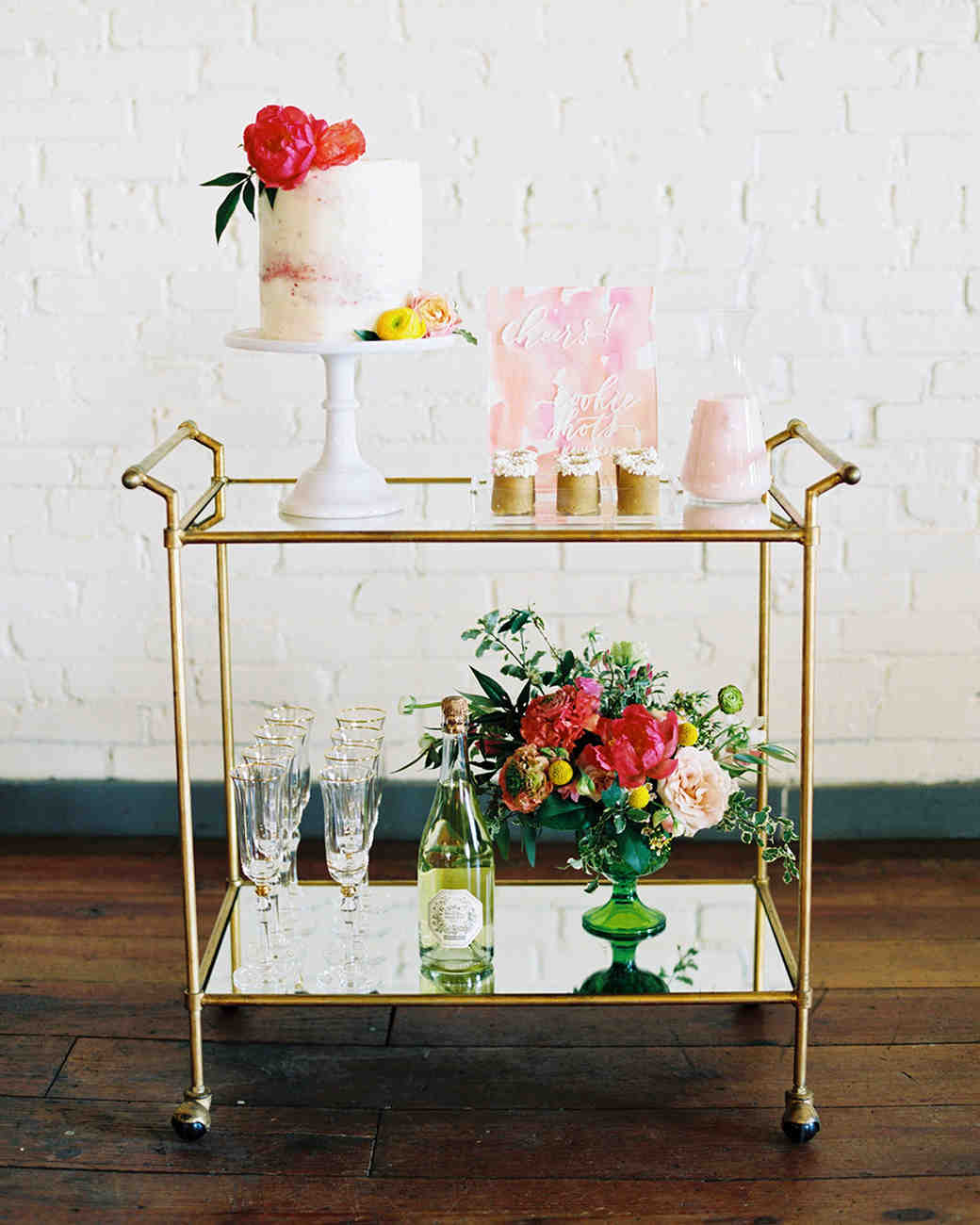 wedding bar cart featuring desserts
