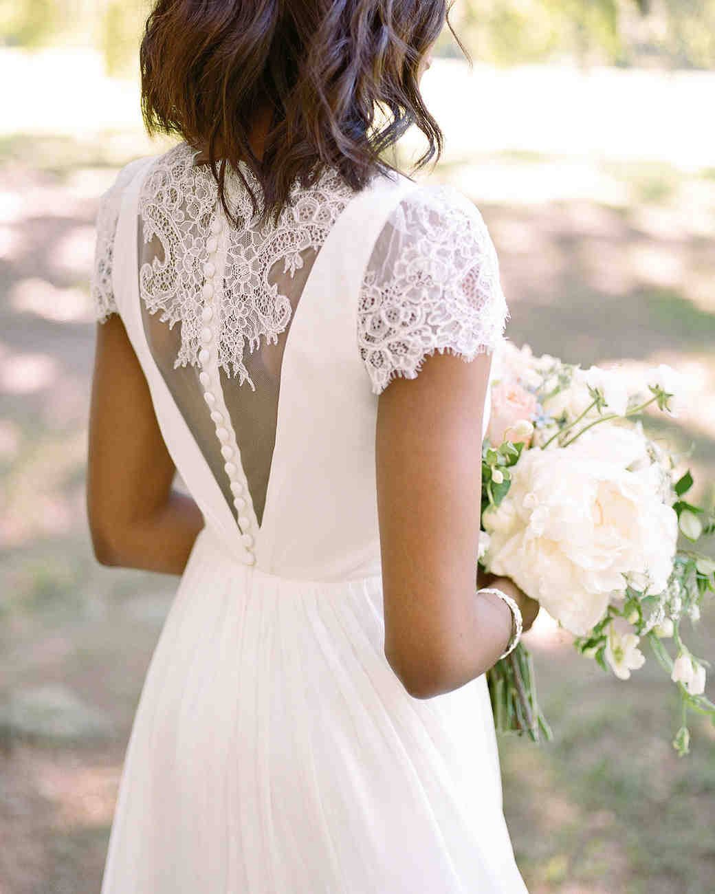 wedding dresses with buttons up back with lace sleeves