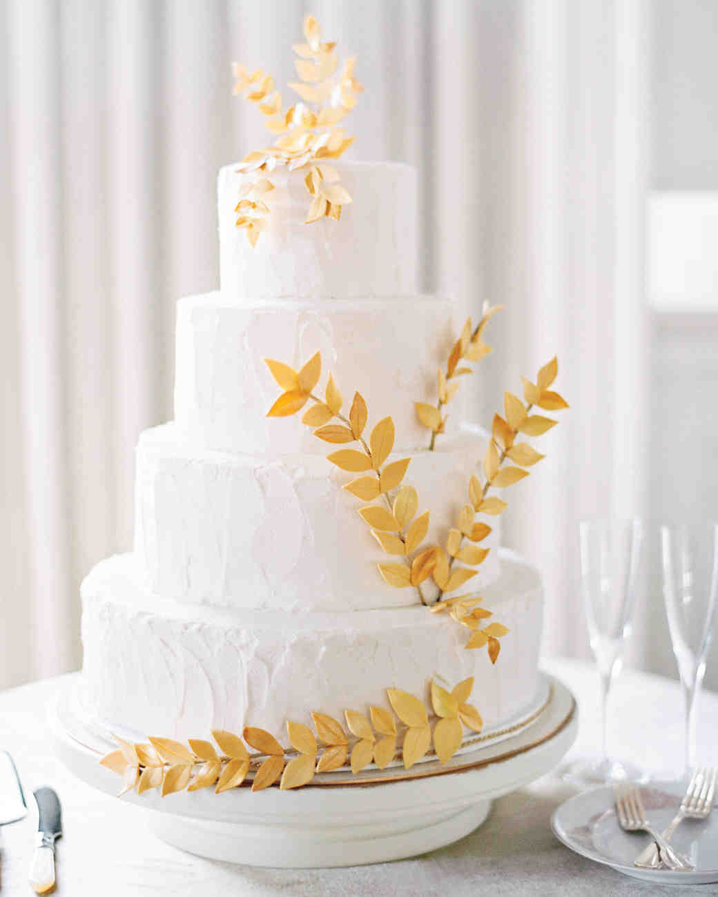 White Cake with Gold Leaf Accents