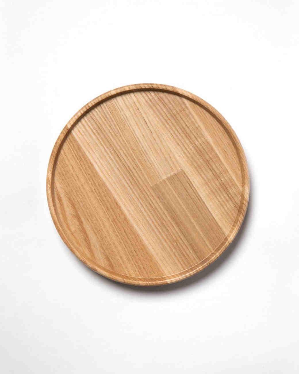 wood anniversary gift circular tray