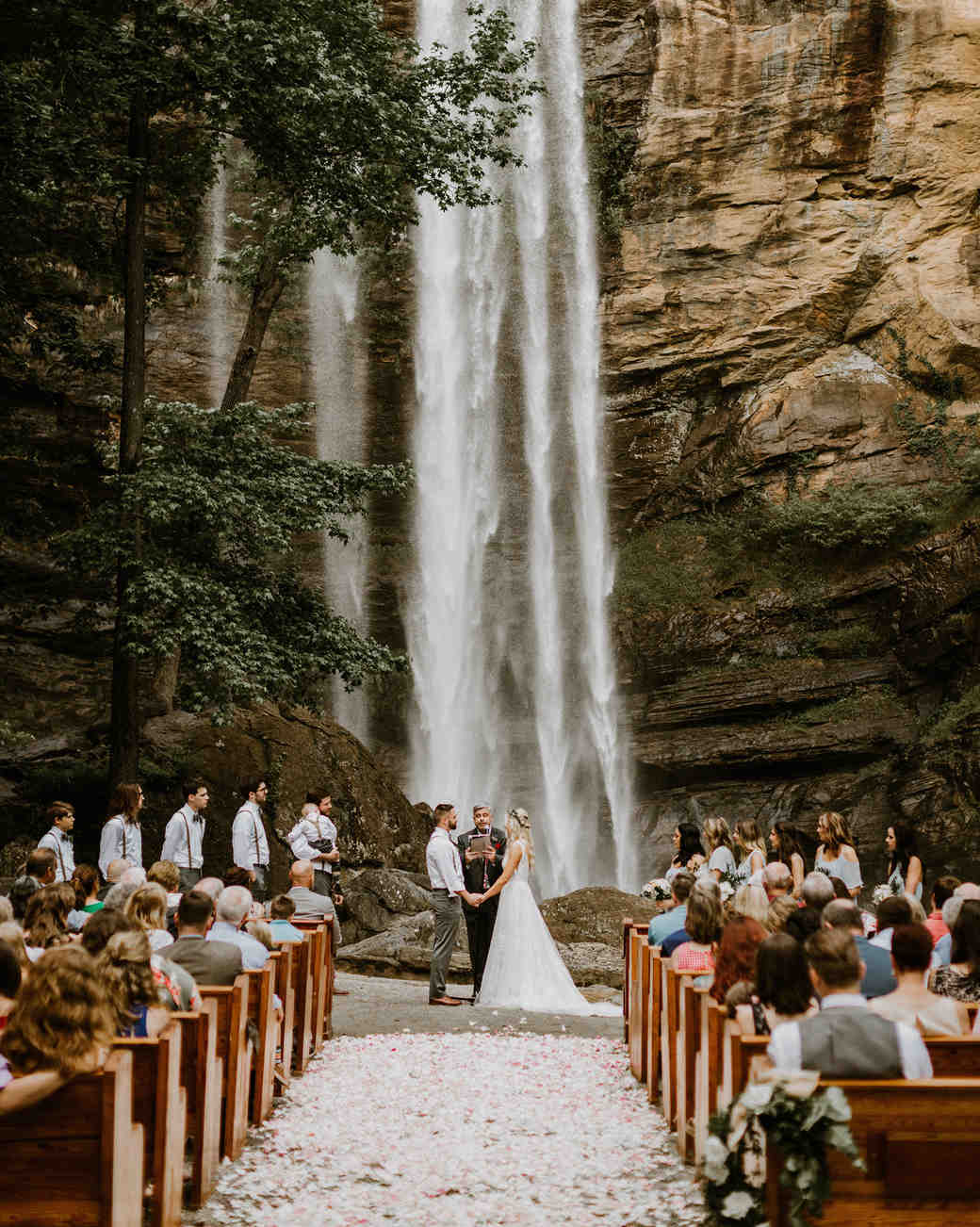 ceremony aisle with petals and waterfall