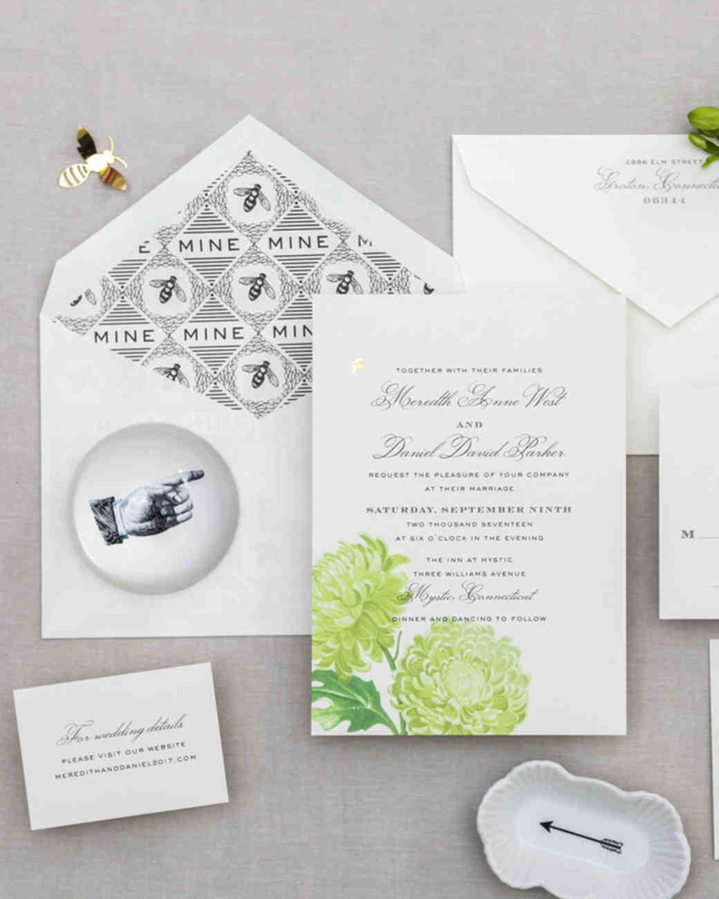 bee wedding ideas invitation suite