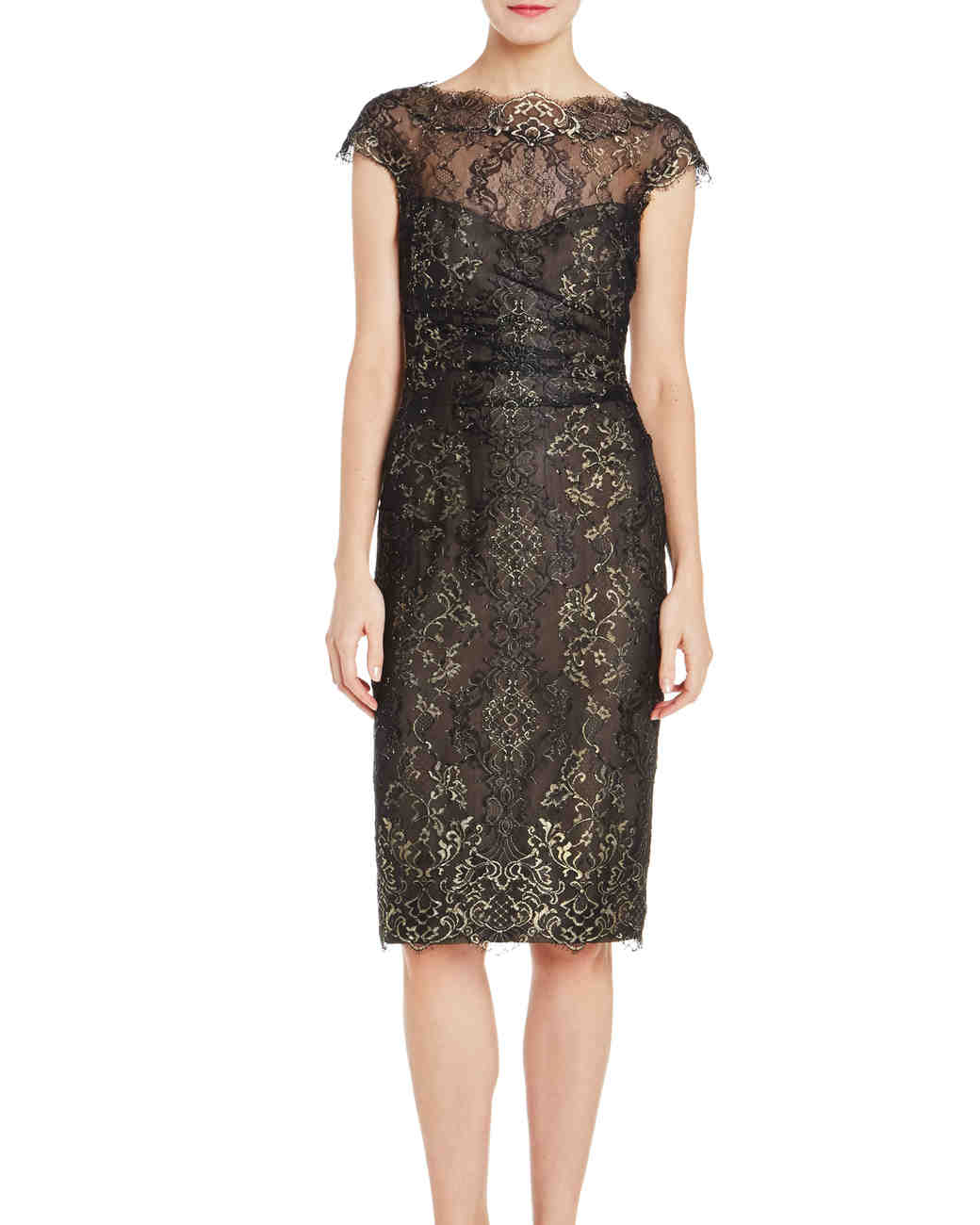 Monique Lhuillier Cap Sleeve Black Dress