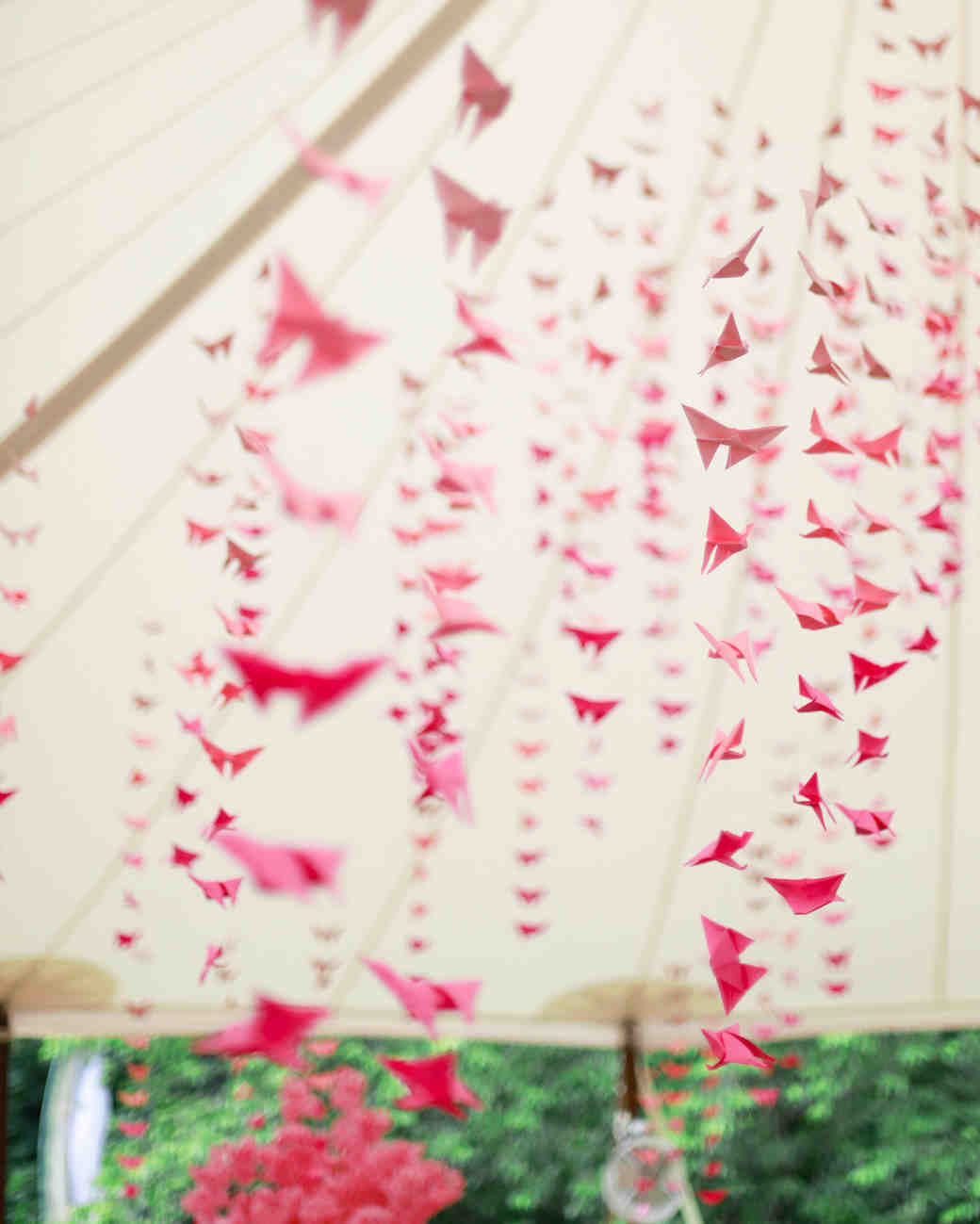 bridal shower hanging pink origami decor