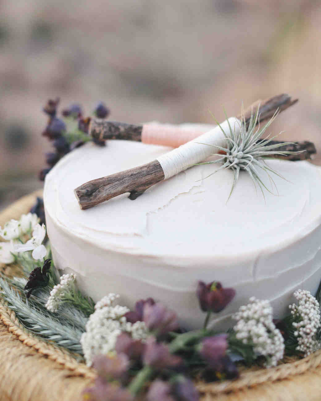 Rustic One-Tiered White Wedding Cake with Sticks, Foliage, and a Succulent