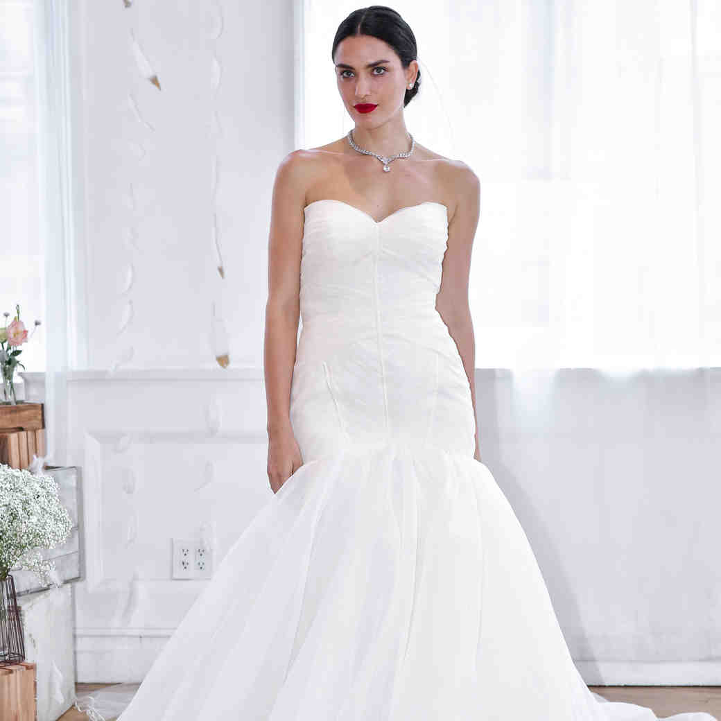 david's bridal fall 2018 trumpet strapless wedding dress