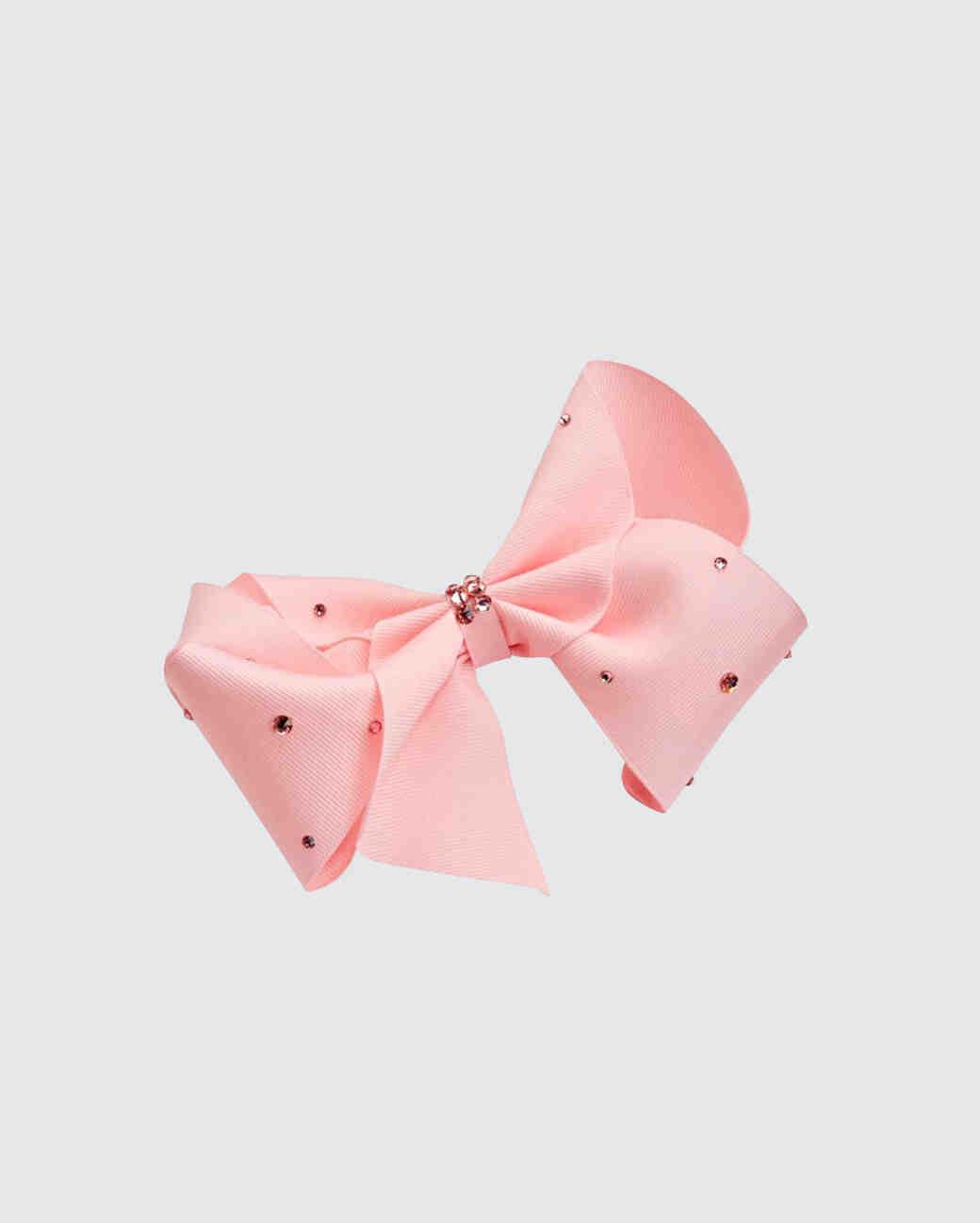 Bari Lynn Crystal-Studded Grosgrain Bow